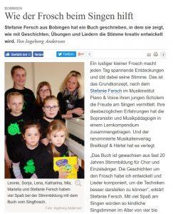 Zeitungsbericht Singfrosch Screenshot