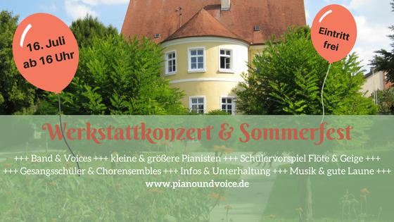 Werkstattkonzert und Sommerfest am 16. Juli ab 16 Uhr