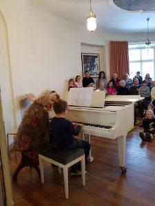 Werkstattkonzert vierhändig Klavier mit Publikum